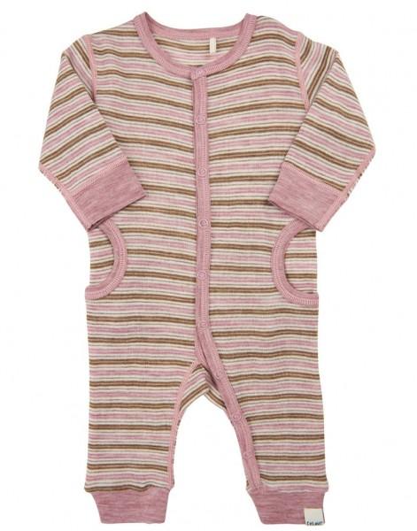 Celavi Baby Overall rosa/natur gestreift Merinowolle Schlafanzug