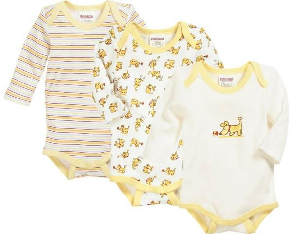 Schnizler Baby Langarmbody Hundchen gelb/weiß 3er Pack