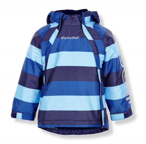 Minymo Winterjacke Le93 Funktionsjacke Blockstreifen lightblue/nautical