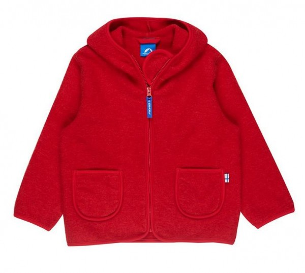 Finkid Tonttu Wool red melange / Zip-In Wollfleece Jacke mit Kapuze