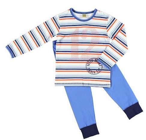 Celavi Pyjama Schlafanzug 2 Teiler azurblau-weiß-rot geringelt Gr. 90