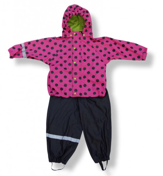 CeLaVi Mädchen Regenset magenta pink Dots 2 Teiler