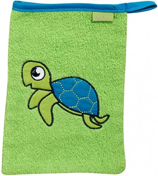 Waschhandschuh grün mit Schildkröte Ökotex100