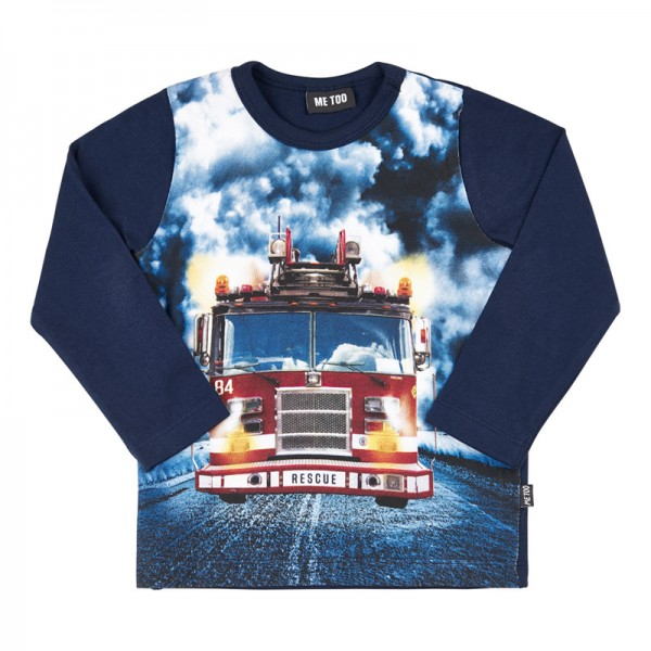 Metoo Langarmshirt blau mit Feuerwehrauto