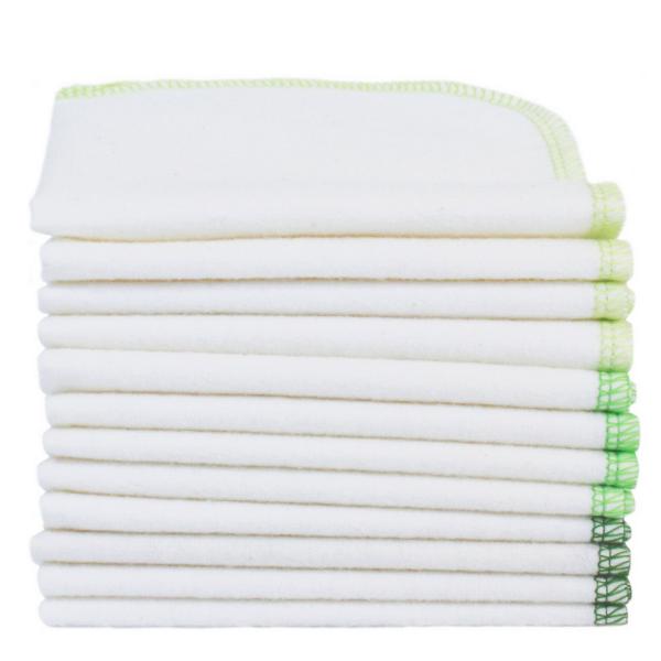 ImseVimse Pflegetücher natur/grün 12er Pack wiederverwendbare Feuchttücher