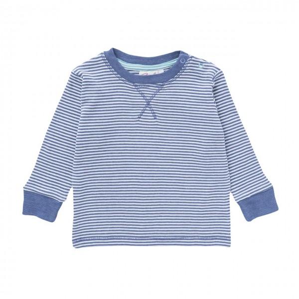 Baby Langarmshirt jeansblau Ringelstreifen Biobaumwolle