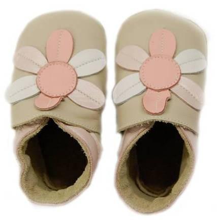 Bobux Mädchen Krabbelschuhe beige/rosa Blume