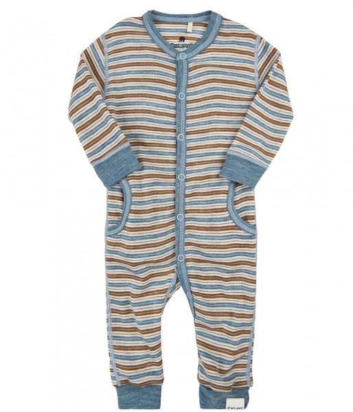 Celavi Baby Overall blau/natur gestreift Merinowolle Schlafanzug
