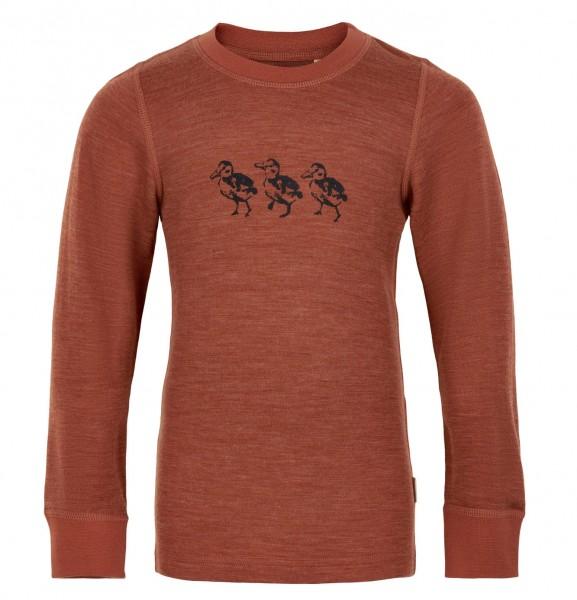 Celavi Langarmshirt Wolle mit Entchen-Motiv