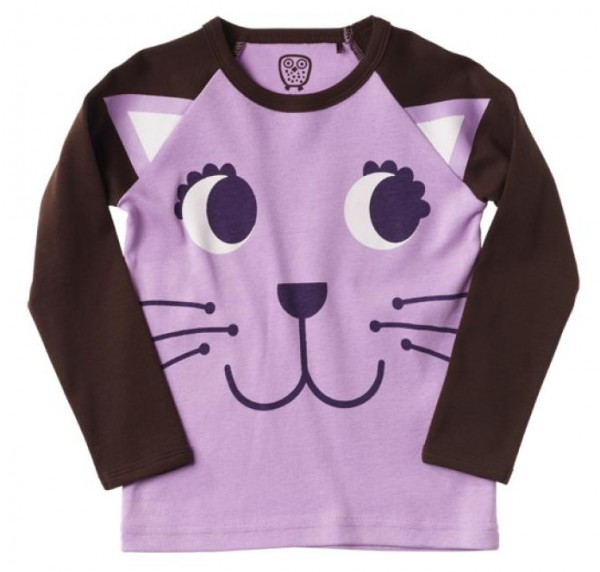 Ej sikke lej Langarmshirt Kitty Katze coffee bean / violett