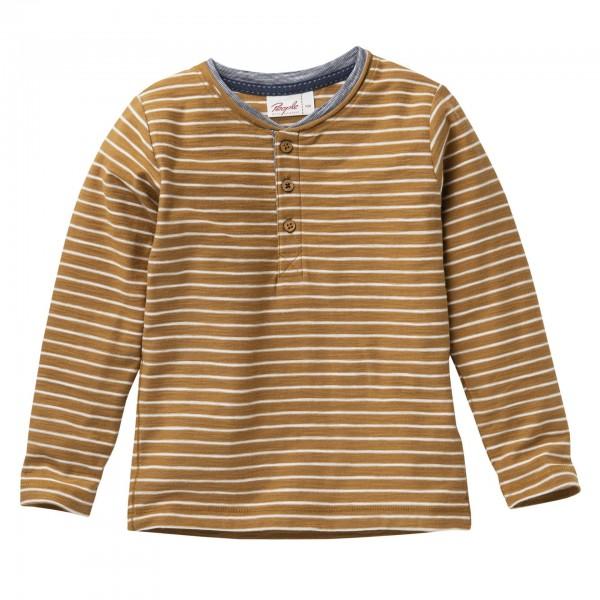 People wear Organic Langarmshirt Henley geringelt hellbraun