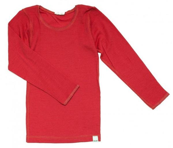 Celavi Kinder Unterhemd korallen rot Langarm Merino Schurwolle Ökotex100