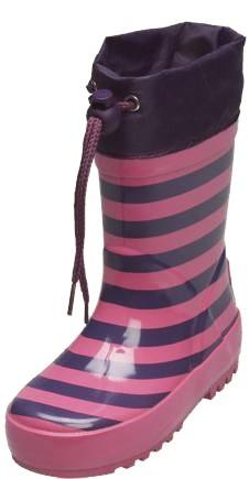 Gummistiefel aus Kautschuk pink mit lila Streifen geringelt