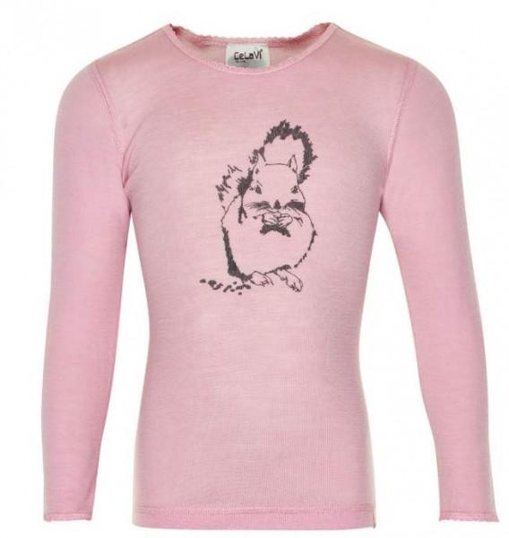 Celavi Langarmshirt rosa Eichhörnchen Unterhemd Wolle