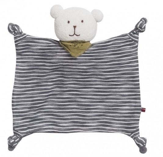 People wear Organic Baby Schmusetuch Bär grau gestreift