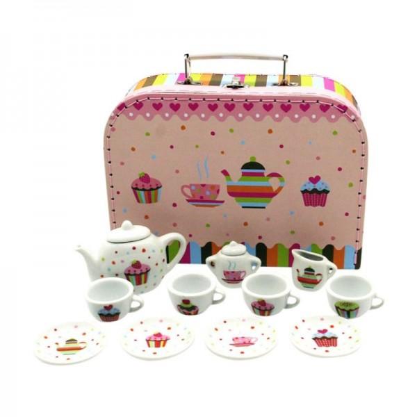 Teeservice Porzelllan Puppengeschirr im Koffer