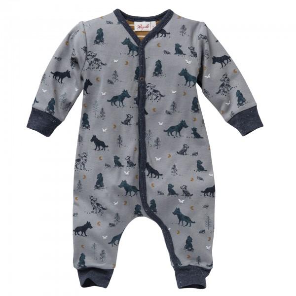 People Wear Organic Baby Overall Wölfchen taubengrau