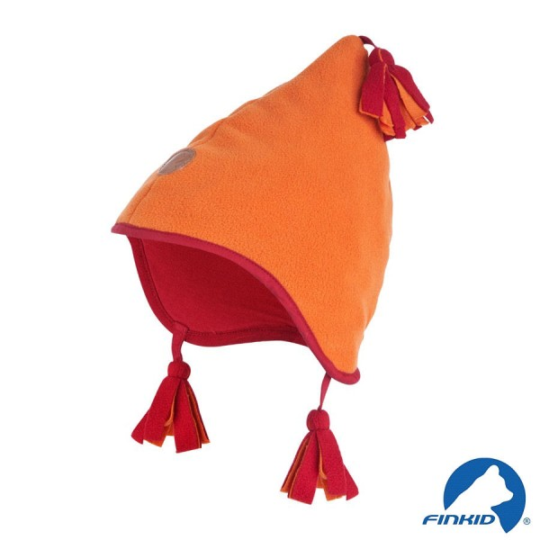 Finkid Pipo orange / red Winter Fleecemütze mit Baumwollfutter