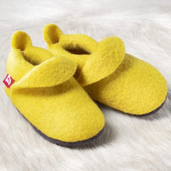 Pololo Kinder Hausschuhe Wollwalk uni lemon gelb