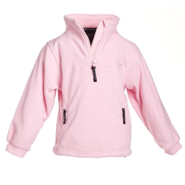 BMS Baby Fleecepullover Troyer rosa mit Stehkragen