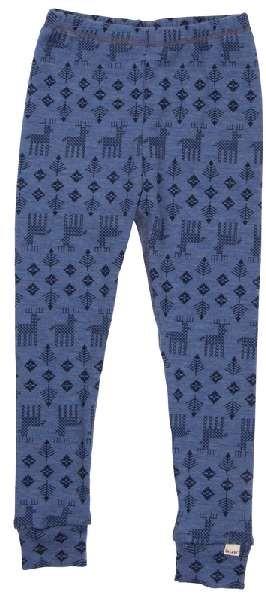 Celavi Legins blau melange Elch lange Unterhose Merino Schurwolle Ökotex100