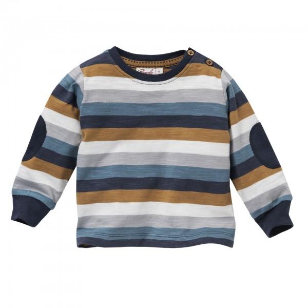 People wear Organic Langarmshirt Blockstreifen blau/nougat