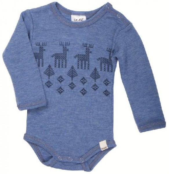Celavi Baby Wollbody Elche blau melange