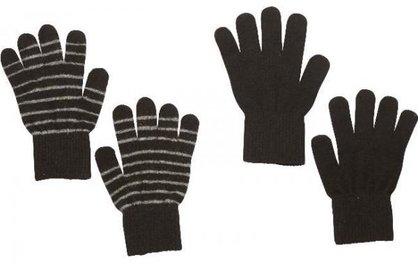 Celavi Wollhandschuhe schwarz/grau geringelt Doppelpack 2 Paar Fingerhandschuhe