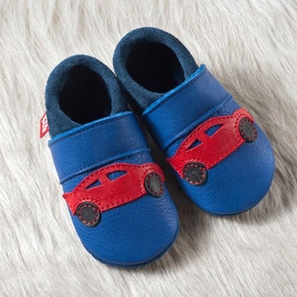 Pololo Hausschuhe Racer Rennwagen blau/rot