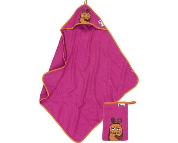 Geschenkset DIE MAUS pink Kapuzen Badetuch + Waschhandschuh Ökotex100