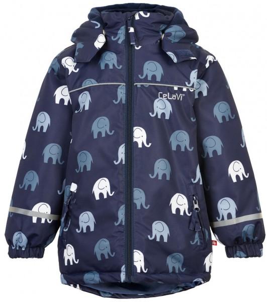 CELAVI Jungen Winterjacke dunkelblau mit Elefanten Outdoorjacke