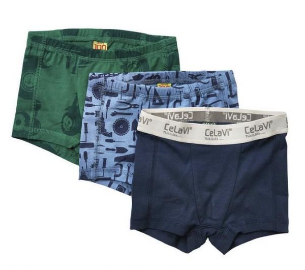 Celavi Jungen Boxershorts Unterhosen 3er Pack Traktor Mix