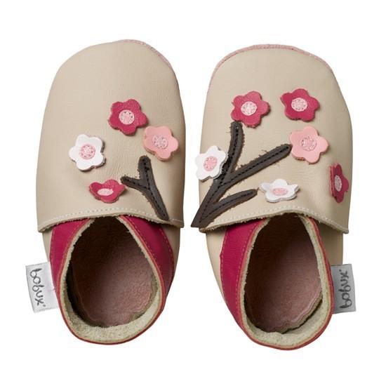 Bobux Mädchen Hausschuhe beige/pink Blumen