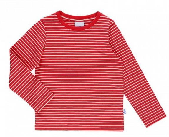 Finkid Sampo Langarmshirt geringelt red/offwhite