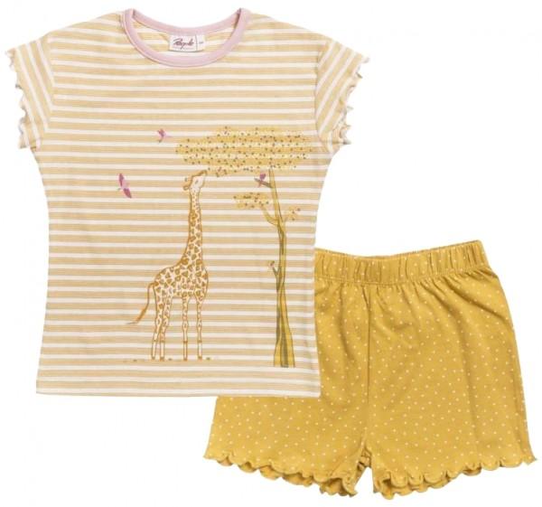 People wear Organic Sommer Shorty Schlafanzug gelb mit Giraffe