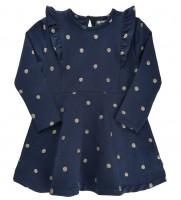 Mädchen Kleid dunkelblau Sweatkleid mit goldenen Punkten