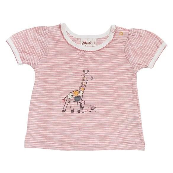 People wear Organic Mädchen T-Shirt Giraffe rosa/weiß gestreift