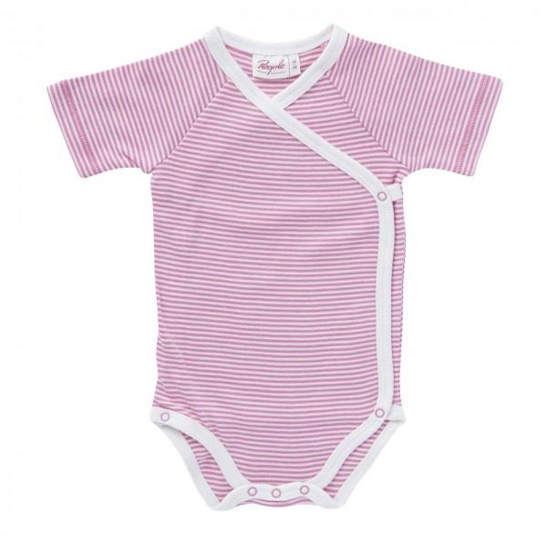 Wickelbody Kurzarm rosa/weiß gestreift Body Bio-Baumwolle
