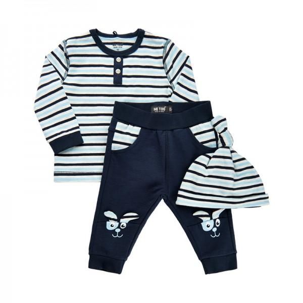 MeToo Baby Anzug 3 Teile Set Hose, Shirt + Mütze