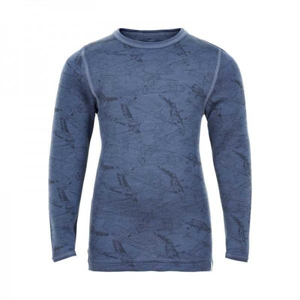 Celavi Wollshirt jeansblau mit Flugzeugen Unterhemd Merino Schurwolle