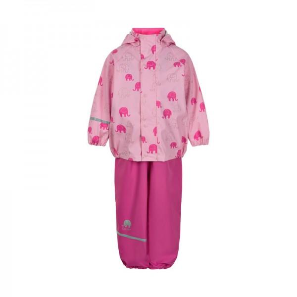 CeLaVi Mädchen Regenanzug Elefanten pink/gold Set Regenhose + Regenjacke