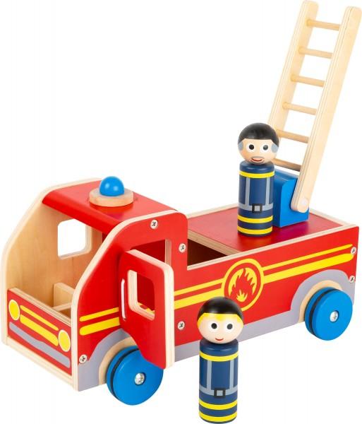 Großes Feuerwehrauto aus Holz rot robust und stabil