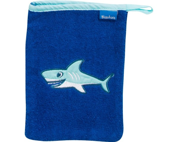 Waschhandschuh meerblau mit Hai Ökotex100
