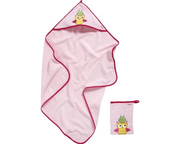 Geschenkset rosa Eule Kapuzen Badetuch + Waschhandschuh Ökotex100