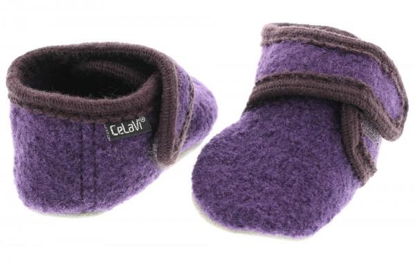 Celavi Hausschuhe dunkel lila Wolle Kinderhausschuhe