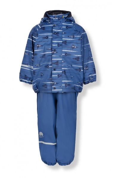 CeLaVi Thermo Regenhose + Regenjacke Kombi Winter Regenanzug Rakete blau
