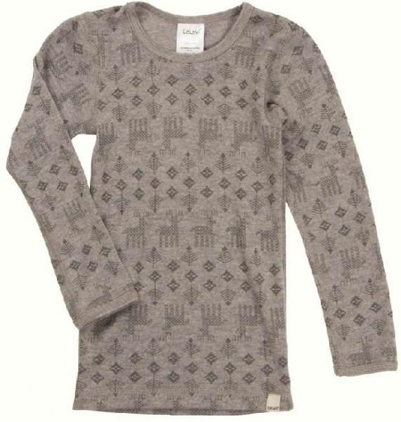 Celavi Langarmshirt grau melange Elche Unterhemd Wolle