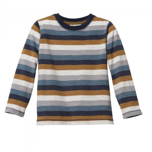 People wear Organic Jungen Langarmshirt dunkelblau geringelt