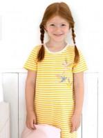 Mädchen Sommer Nachthemd gelb/weiß geringelt Bio-Baumwolle