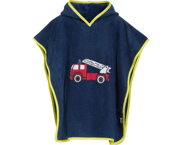 Kinder Badeponcho Feuerwehrauto marine Kapuzen Badeumhang Ökotex100